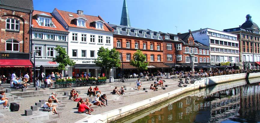 Centrum van stad Aarhus