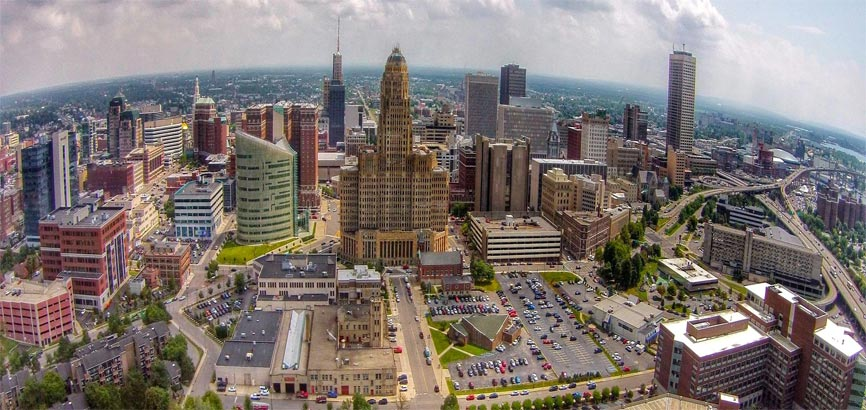 Luchtfoto van centrum Buffalo