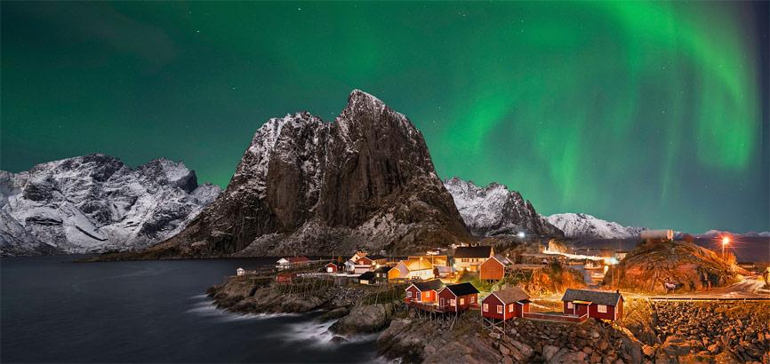 Aurora Borealis in Lofoten, Noorwegen