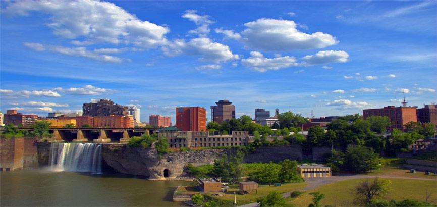 Rochester met uitzicht op waterval