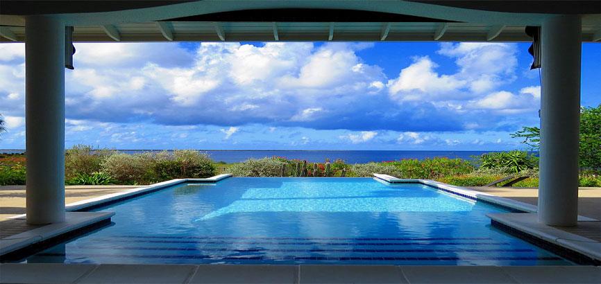 Uitzicht vanuit villa in Sabadeco
