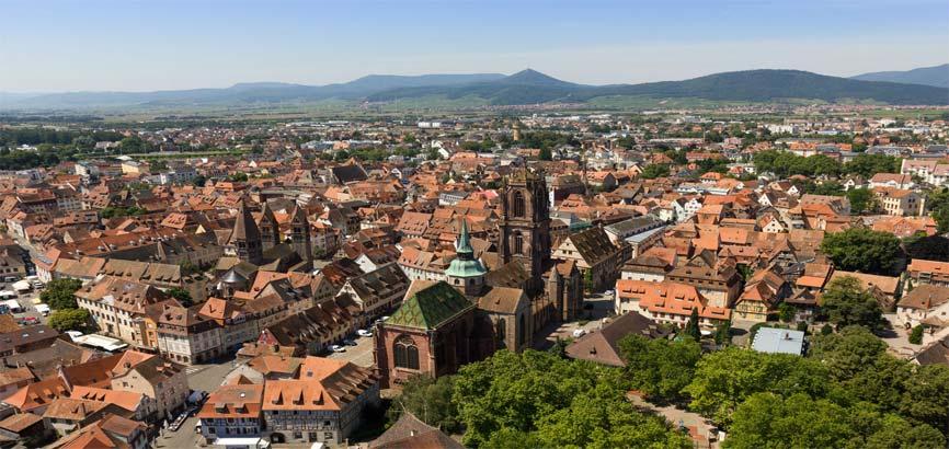 Uitzicht over stad Sélestat