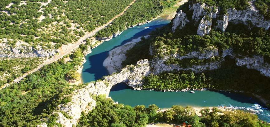 Bovenaanzicht van Vallon-Pont-d'Arc